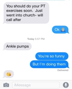 Love my coach Sara! She doesn't let me forget to do those ankle pumps. Ever.